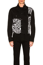 Versace Panel Print Denim Jacket In Abstract Black Geometric Print White Abstract Black Geometric Print White