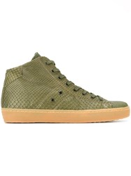 Leather Crown Snakeskin Effect Hi Top Sneakers Green