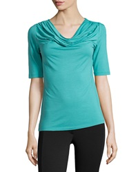 Lafayette 148 New York Jersey Cowl Neck Tee Turquoise