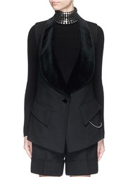 Alexander Wang Velvet Shawl Collar Twill Vest Black