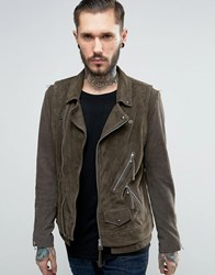 Allsaints Leather Jacket Light Slate Grey