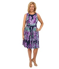 Adrianna Papell Plus Size Photoreal Floral Placed Print Pleated Fit Flare Navy Multi Women's Dress Blue
