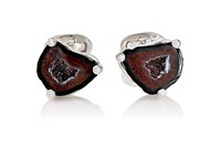 Jan Leslie Men's Druzy Agate Cufflinks Burgundy