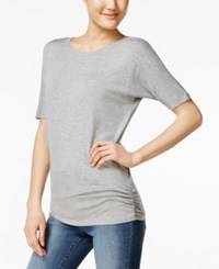 Planet Gold Juniors' Ruched Dolman Sleeve T Shirt Shadow Grey Heather