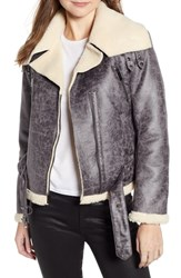 Kenneth Cole New York Faux Shearling Moto Jacket Grey