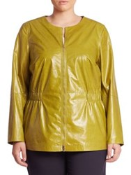 Lafayette 148 New York Lucina Lacquered Leather Jacket Chicory