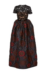 Paule Ka Mixed Media Embroidered Jacquard Gown Multi