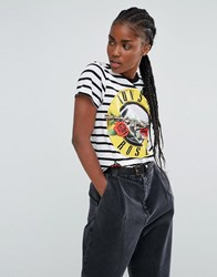Asos T Shirt In Stripe With Guns N' Roses Print And Sequin Badges Multi