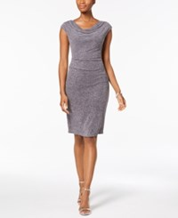 Jessica Howard Draped And Ruched Glitter Dress Gray