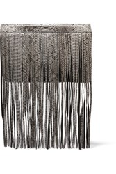 Michael Kors Joni Fringed Python Clutch Green