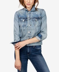 Lucky Brand Graphic Cotton Denim Jacket Be Lucky