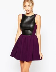 Hedonia Amy Skater Dress With Leather Look Top Purple