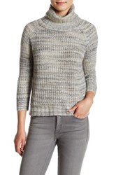 Three Dots Raglan Turtleneck Pullover Sweater Gray