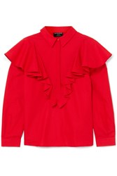 Mother Of Pearl Ruffled Cotton Blouse Red Gbp