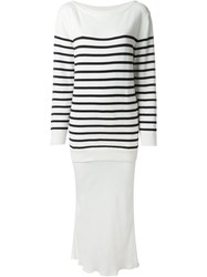 T By Alexander Wang Striped Knit Layered Dress White