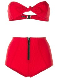 Lisa Marie Fernandez Poppy Zip Seersucker Bikini Red