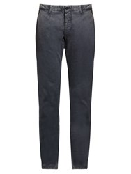 Tomas Maier Slim Fit Brushed Cotton Blend Trousers Navy
