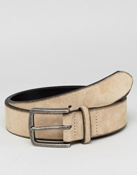 Asos Suede Wide Belt In Beige With Burnished Edges Tan