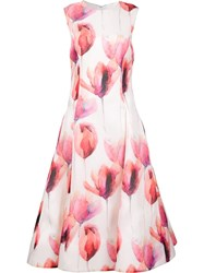 Christian Siriano Floral Flared Dress White