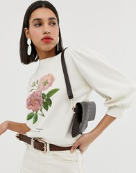 Neon Rose Puff Sleeve Sweatshirt With Botanical Floral Graphic Beige
