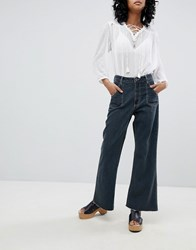 One Teaspoon High Waisted Cropped Wide Leg Jean With Contrast Stitching Fox Black