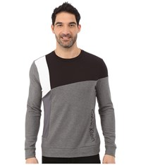 Calvin Klein Long Sleeve Crew Neck Color Block Interlock Honey Comb Jacquard Sweatshirt Medium Gray Heather Men's Sweatshirt