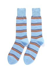 Paul Smith Rainbow Stripe Cotton Blend Socks Multi Colour Blue