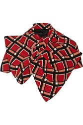 Marc By Marc Jacobs Toto Bow Effect Printed Crepe Cape Red