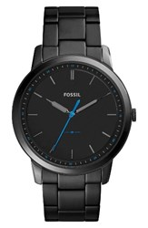 Fossil Men's Minimalist Bracelet Watch 44Mm Black Rose Gold