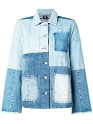 Prps Patchwork Denim Jacket Women Cotton Xs Blue