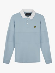 Lyle And Scott Contrast Panel Long Sleeve Polo Shirt Blue Dust