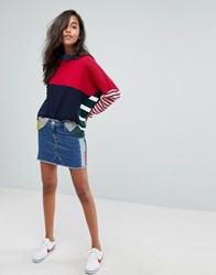 Tommy Jeans Denim Mini Skirt With Contrast Wash And Taping Denim Blue