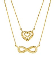 Lord And Taylor 14K Yellow Gold Heart Infinity Necklace