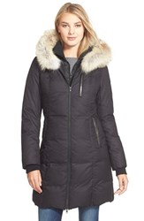 Women's Soia And Kyo 'Chrissy' Print Down Parka With Genuine Leather And Coyote Fur Trim