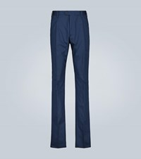 Caruso Double Pleated Stretch Cotton Pants Blue