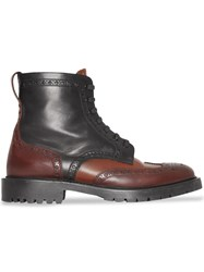 Burberry Brogue Detail Leather Boots Brown