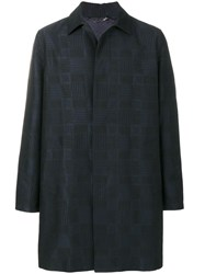Versace Checked Coat Cotton Polyester Viscose Wool Black
