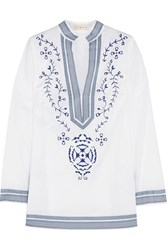 Tory Burch Tory Embroidered Cotton Voile Tunic White