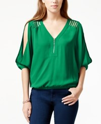 Xoxo Juniors' Zipper Front Cutout Slit Sleeve Blouse Green