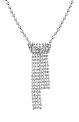Steve Madden Casted Crystal Necklace Silver