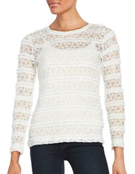 Lord And Taylor Long Sleeve Ruffle Lace Mesh Tee Ivory