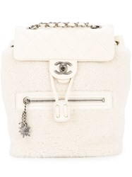 Chanel Vintage Shearling Quilted Backpack White