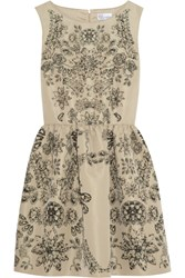 Red Valentino Printed Taffeta Twill Mini Dress Nude