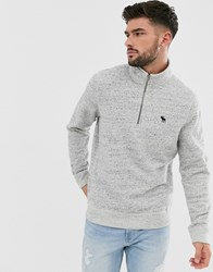Abercrombie And Fitch Icon Logo Half Zip Sweatshirt In Grey Marl