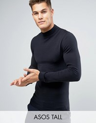 Asos Tall Muscle Fit Turtle Neck Jumper In Cotton Black