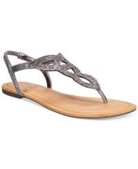 Material Girl Swirlz T Strap Flat Sandals Only At Macy's Women's Shoes Pewter