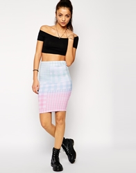 Jaded London Gingham Print Midi Skirt Multi