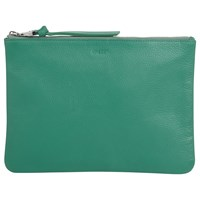 Jaeger Icon Leather Zip Pouch Purse Green
