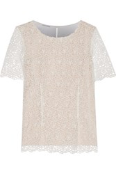Oscar De La Renta Crocheted Cotton And Cady Blouse Ivory