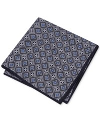 Club Room Men's Medallion Pocket Square Only At Macy's Black